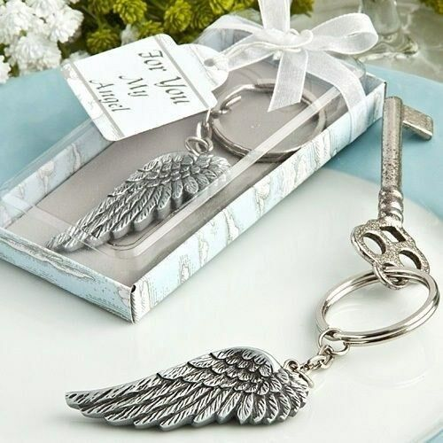 70 Angel Wing Keychain Christening Baptism Baby Shower Religious Party Favors
