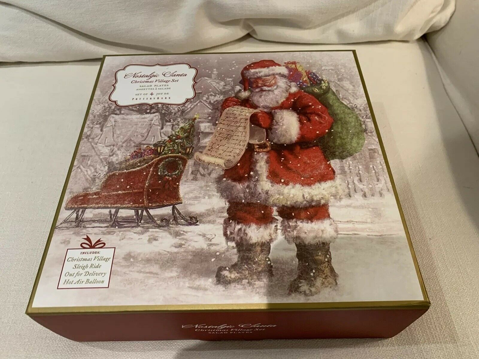 POTTERY BARN NOSTALGIC SANTA SALAD PLATESMIXED SET SET SET 4NEW IN BOX Christmas Plate 3f4e0b