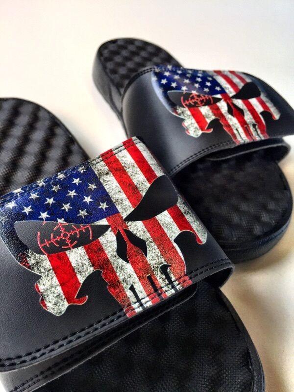 USA flag Punisher ISlide sandals slides sizes 6-15 Police SWAT America