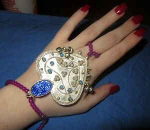 Bracelet-Heart-Medallion-Beaded-Finger-Ring-Bells-Afghan-Tribal-Kuchi-6-034-NEW
