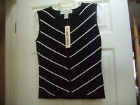 Linda Lucia Ladies Sleeveless Shell Top - Black & White - Size M - With Tags