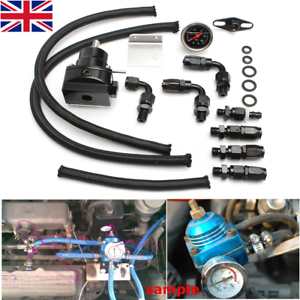 Adjustable-Fuel-Pressure-Regulator-100psi-Gauge-AN6-Oil-Hose-End-Fittings-Valve