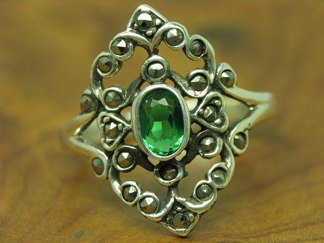 925 STERLING silver RING MIT GLAS & MARKASIT BESATZ   ECHTsilver   3,1g   RG 57