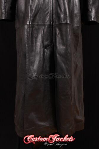 Ladies Black Leather Long Coat RED LINING Full Length Lambskin Coat Jacket 298