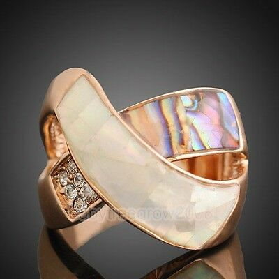 18k Rose Gold GP Swarovski Crystal Shell Cocktail Ring 149