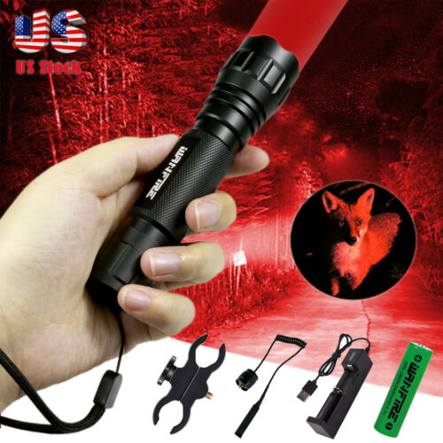 540 Yards Red  light LED Varmint Predator Coyote Hog Pig Hunting Flashlight US