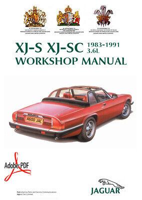 1983-1991 JAGUAR 3.6L XJ-S XJ-SC FACTORY WORKSHOP MANUAL + ... on