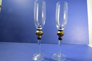 Crystal-Champagne-Flutes-w-Gold-Painted-Stem-Decoration-Set-of-2