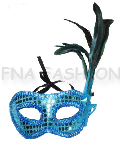New Sequin Feather Detail Masquerade Face Mask Black Red Pink Turquoise Purple