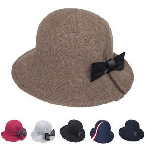7bf1fa98e7f Winter Hat Warm Womens Lady Bucket Hat Cotton Wool Blend Bucket Cap ...