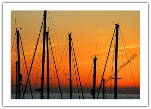 Greetings Card Birthday Blank Notelet Sunset Masts Boats Sailing Sea Ocean
