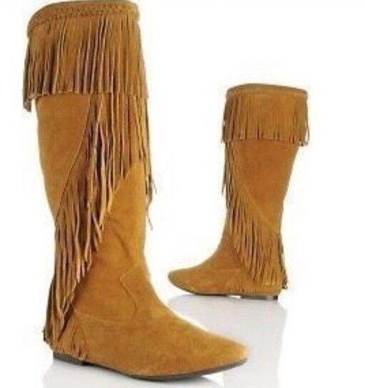 Sam Edelman Utah damen Stiefel Moccasins Camel Tan Suede Western Tribal Fringe 6