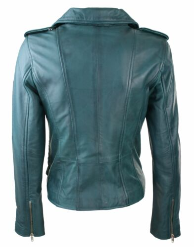Womens Ladies Real Soft Leather Racing Style Biker Jacket Teal Green NEW