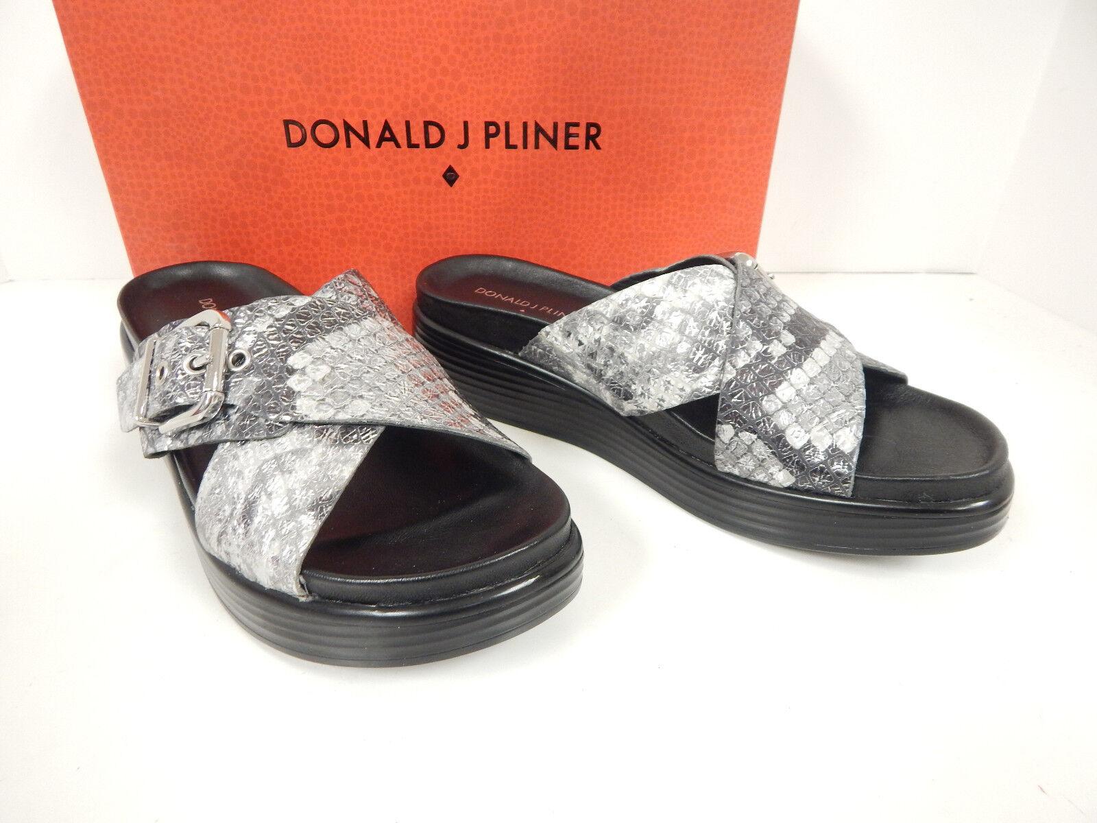 Donald J Pliner Florencia-o ceniza Dist Metálico Serpiente Diseño llea Contrahoja diapositivas-Nuevo