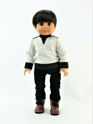 "White and Black Pant Set Fits 18/"" American Boy or Girl Doll Clothes"