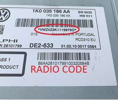 *Official* VW Radio Code Unlock BETA GAMMA RNS RCD Volkswagen Unlock Code  PIN | eBay