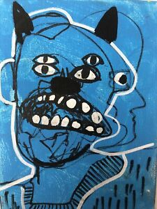 Hasworld-Original-painting-signed-Pop-Art-Expressionist-abstract-Blue-graffiti