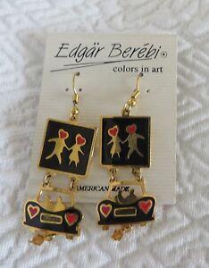 Image Is Loading Edgar Berebi Earrings Dangle Pierced Car Hearts Color