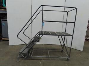 "TRI-ARC 4 Steps 40"" H Steel Rolling Ladder 800 lb. Load Capacity"