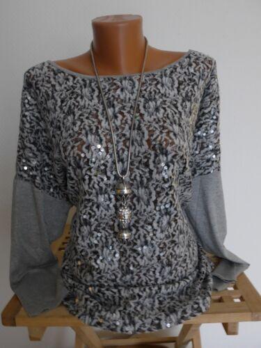 Linea Tesini Bluse Shirt Gr NEU 34-40//42 Grau Langarm mit Pailletten 889