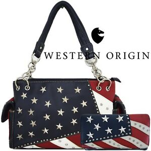 78d1949a80c4 American Flag Stars and Stripes Women Leather Handbag Country Purse ...