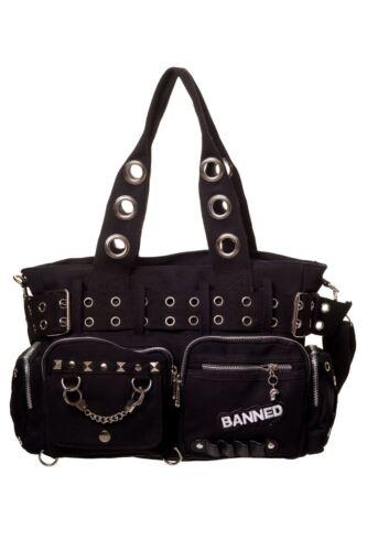 Banned Stripe Emo Gothic Handcuff Handbag