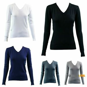 Women-039-s-Ladies-Knitted-V-Neck-Jumper-Sweater-Knitwear-Pullover-Fine-Cotton-Blend