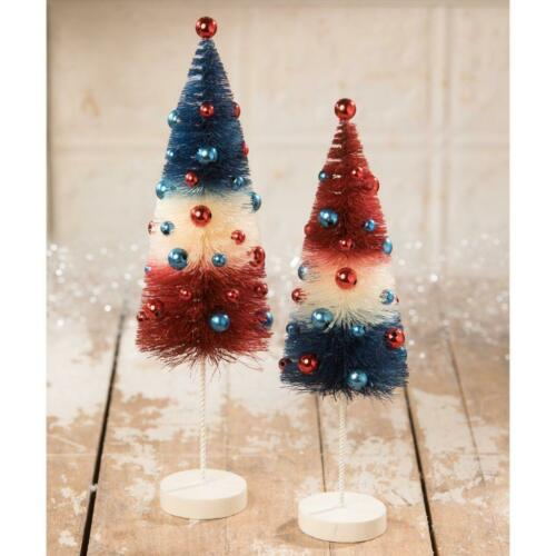 "Set of Bethany Lowe Americana USA 9.5/"" /& 11/"" Bottle Brush Tree with Ornaments"