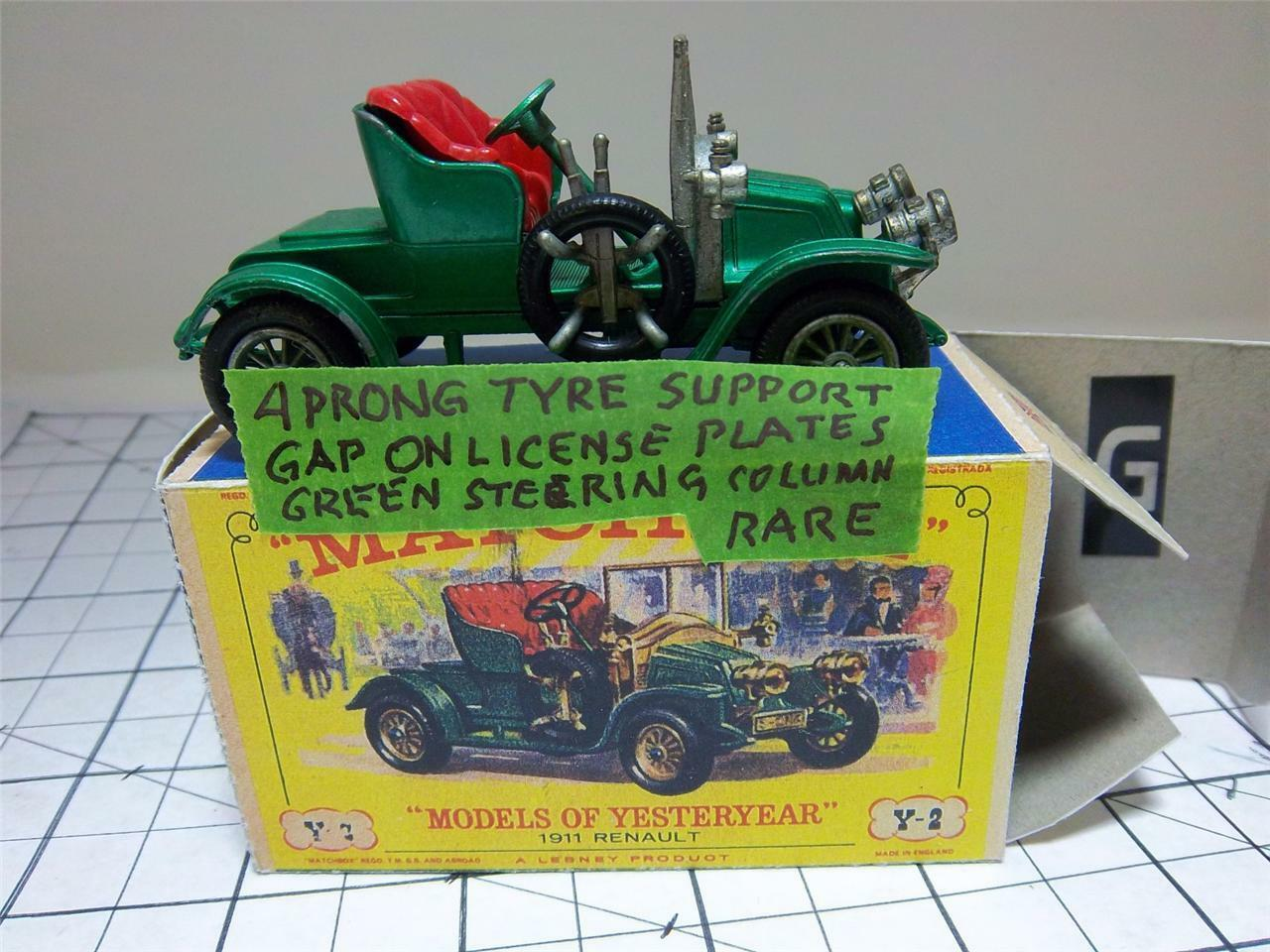 RENAULT TWO SEATER VINTAGE 1911Y2-2; 1GREEN STEERING WHEEL-MATCHBOXMIBRARE