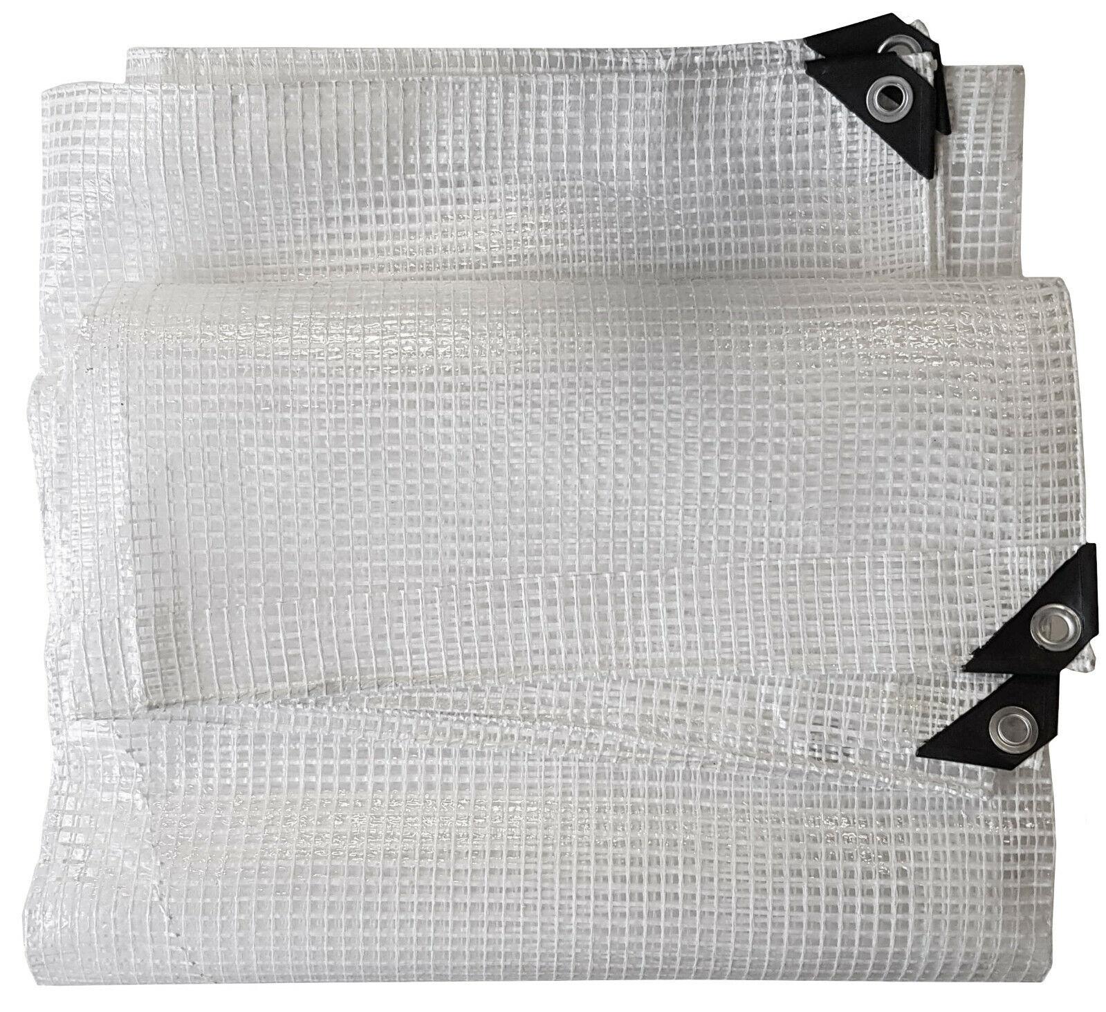 350gsm Heavy Duty Reinforced Mesh Clear Tarpaulin Waterproof Cover Mono Sheet