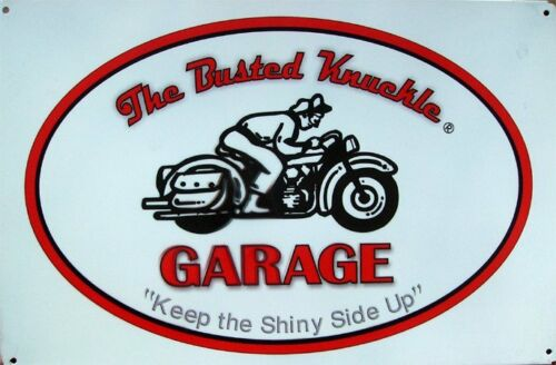 Busted Knuckle Garage Retro Motorcycle Rider Metal Sign