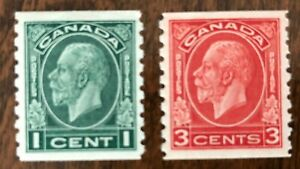 CANADA-1933-s-205-207-KING-GEORGE-V-039-MEDALLION-039-ISSUE-2-COILS-1c-amp-3c-MH-VF
