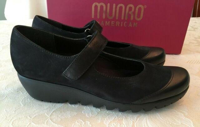 Munro Alpine Mary Jane Black Nubuck Leather Toe Cap Womens Shoes Size 8.5 N