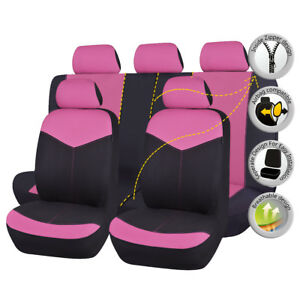 11-PCS-Universal-Car-Seat-Covers-Set-Washable-Pink-Polyester-for-truck-Suv-Van