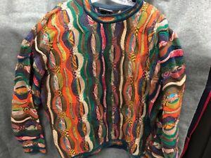 Vintage-COOGI-Australia-Authentic-Pullover-mehrfarbige-Herren-Groesse-XL-1980-039-s