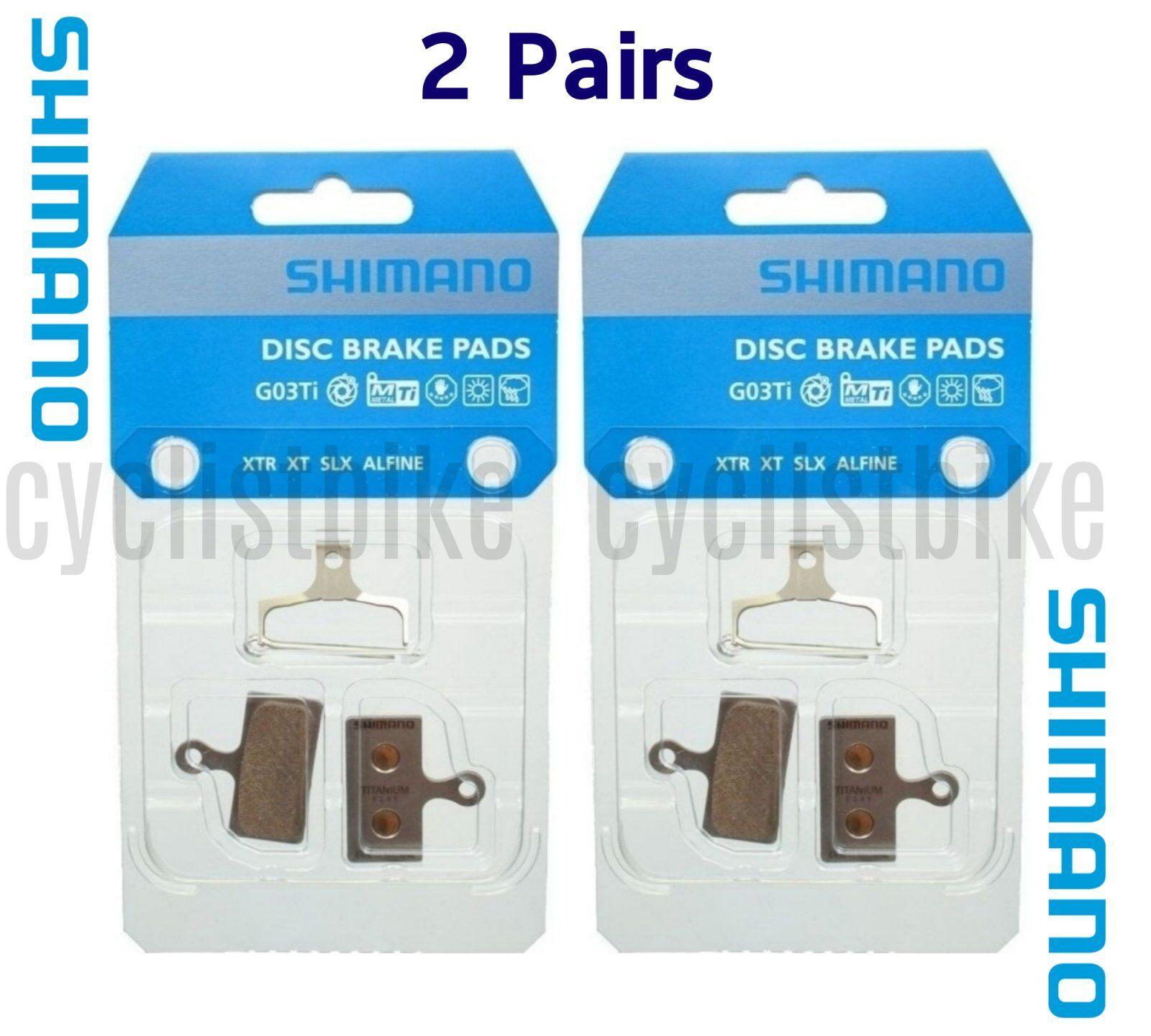 (2 Pairs) Shimano G03Ti Metal Disc Brake Pad Pair & Spring w Split Pin NIB