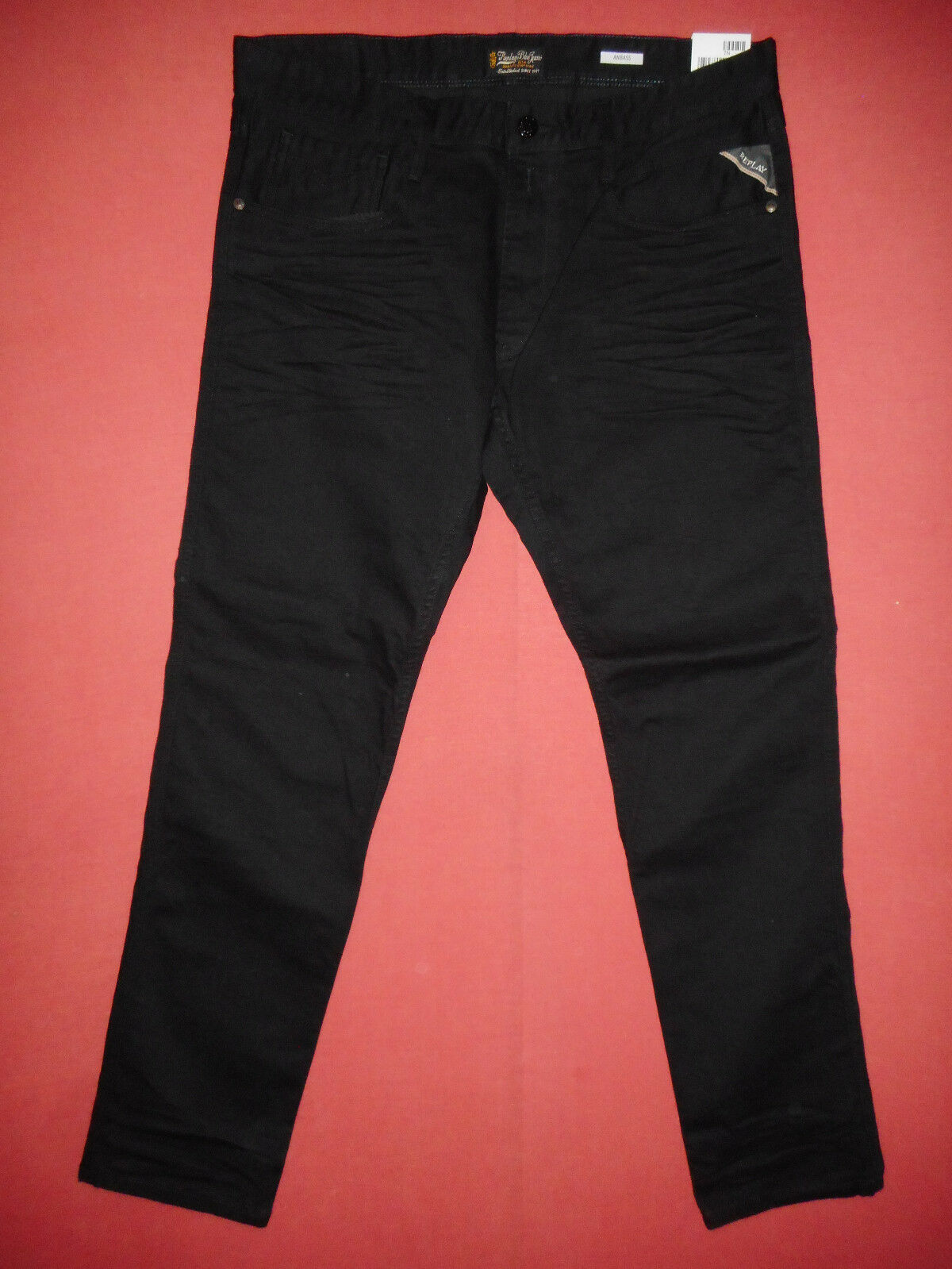 Replay ANBASS Slim Fit  W36 L32     Mens Stretch schwarz Denim Jeans   N3