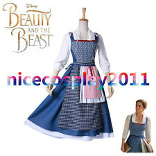 2017 Walt Disney Film Beauty and the Beast Belle Blue Maid Dress Cosplay Costume