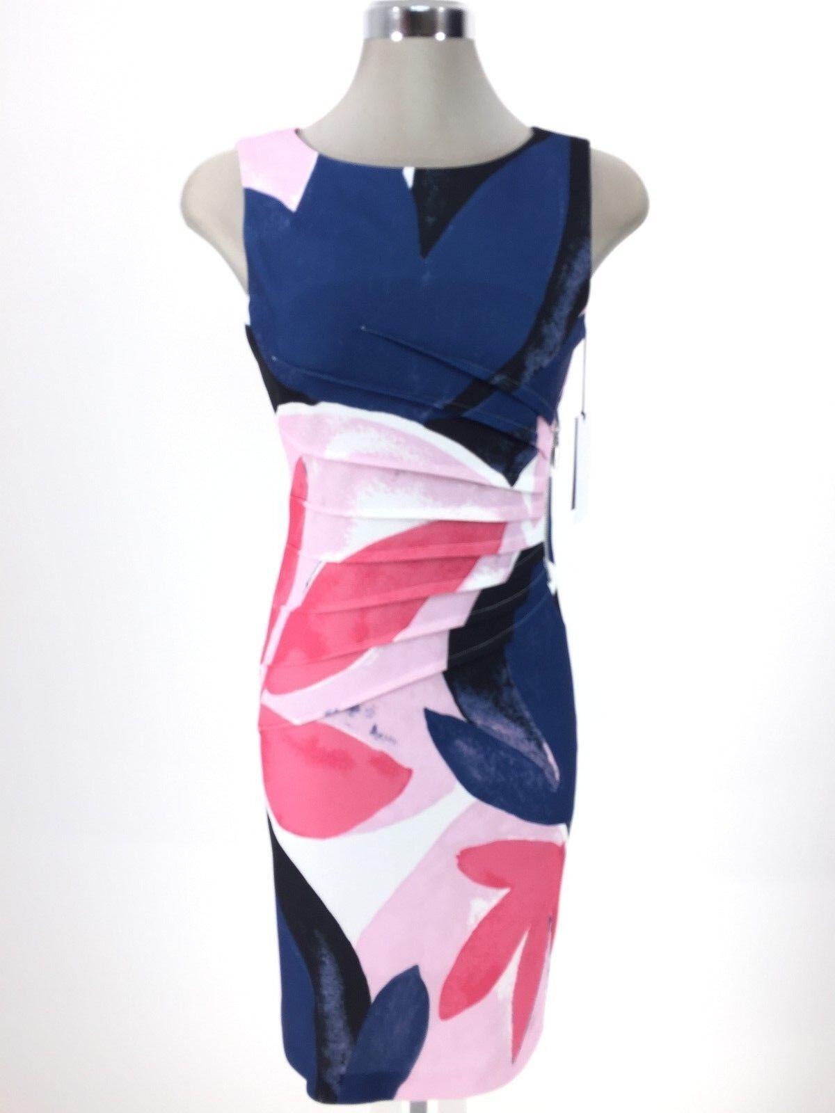 Ivanka Trump NWT Modern Office @ Work NAVY PINK Floral print Dress siz 2 14 L@@K