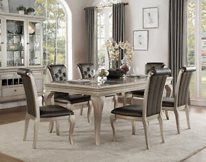 Details about BRENTWOOD 7pc Transitional Silver Taupe Dining Room  Rectangular Table Chairs Set