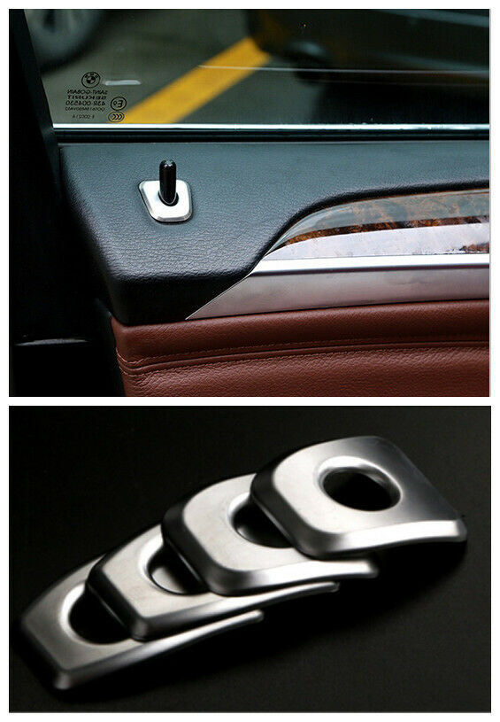interior door lock pin pins cover trim steel 4pcs for bmw x5 e70 2009 2013 ebay. Black Bedroom Furniture Sets. Home Design Ideas