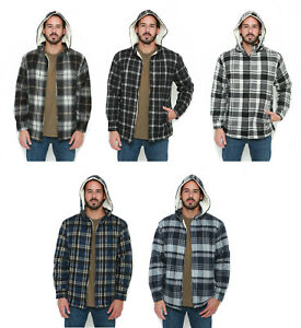 Elevani-Men-039-s-Plaid-Sherpa-Lined-Full-Zip-Detachable-Hoodie-Jacket