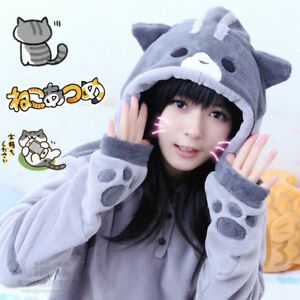 Neko-Atsume-Hoodie-Cat-Backyard-Cute-Cat-Paws-Ears-Tail-Flannel-Sweatshirt-Coats