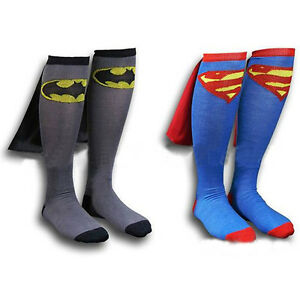 Superhero-Knee-High-Socks-With-CAPE-Attached-Superman-Batman-Unisex-Costume