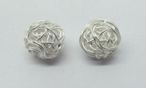 925-Sterling-Silver-Round-Bali-Beads-Wire-Wrapped-11mm-Nest-Ball-Beads-2-Pieces