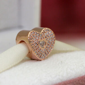 1a1f32a37281a Details about ~Authentic PANDORA Rose Gold Sweetheart 781555CZ WIfe Mom  Love Charm w Box