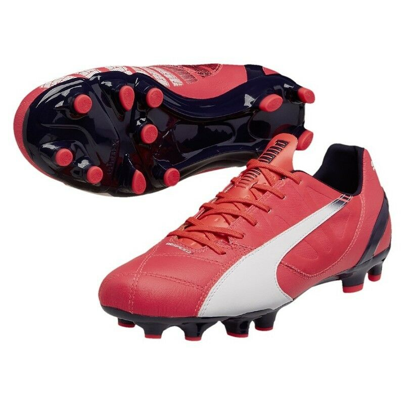 Puma evoSPEED 3.3 3.3 3.3 FG Fußballschuhe Leder Nockensohle rot weiß (103014-0003) 751b58