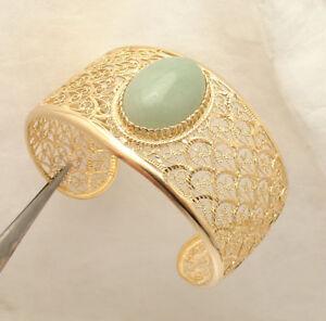 Technibond-Green-Jade-Gemstone-Cuff-Bangle-Bracelet-14K-Yellow-Gold-Clad-Silver