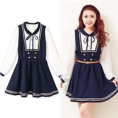 Japanese Sweet Lolita Cute Sailor Collar Chiffon Long Sleeve Princess Dress #PLL
