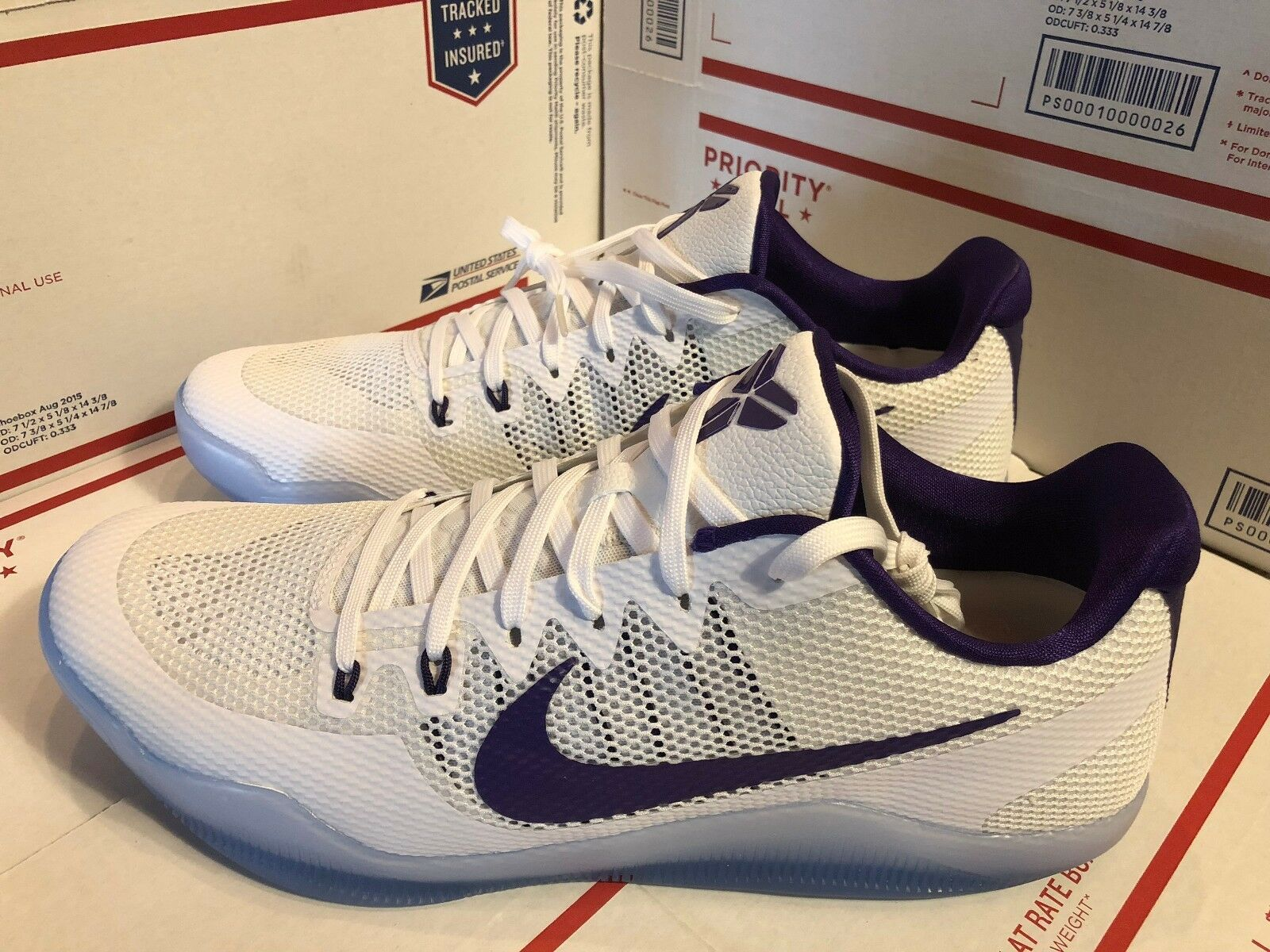 Nike Kobe XI 11 TB Basketball Shoes Men's White/Purple 856485-150 Price reduction Cheap women's shoes women's shoes